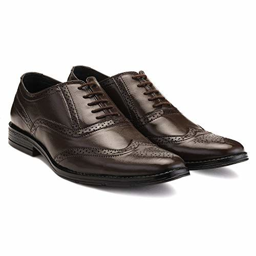 LOUIS STITCH Men's Formal Leather Brogue Shoes    Handmade Genuine Leather Shoes for Men    Featherly Comfortable Gunmetal Strong (Prague_BG)