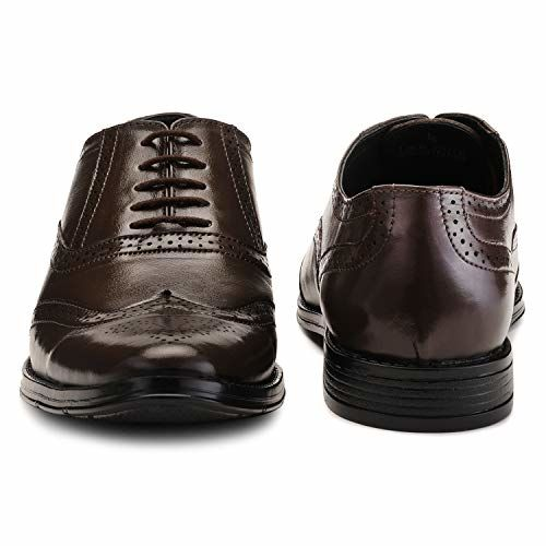LOUIS STITCH Men's Formal Leather Brogue Shoes || Handmade Genuine Leather Shoes for Men || Featherly Comfortable Gunmetal Strong (Prague_BG)