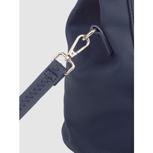 Caprese Navy Blue Textured Handheld Bag