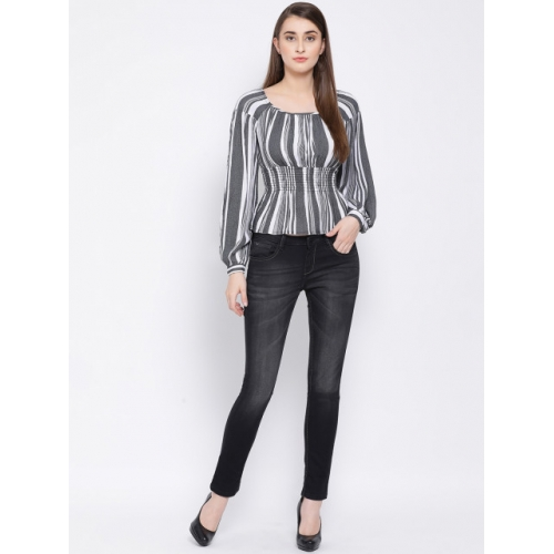 Oxolloxo Grey Viscose Rayon Striped Cinched Waist Top