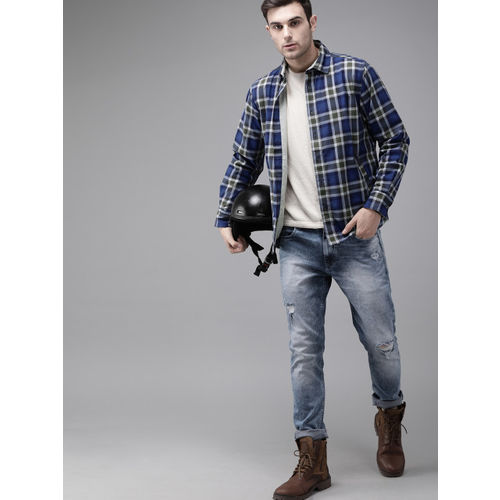 Roadster Men Blue & White Checked Tailored Flannel Shacket
