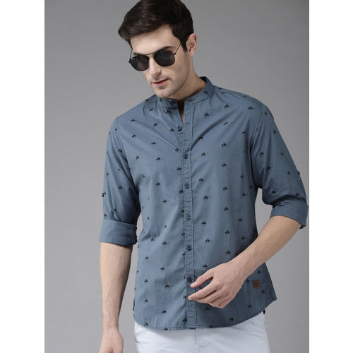 Roadster Men Blue & Black Regular Fit Printed Casual Shirt