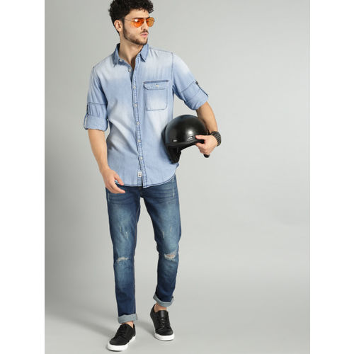 Roadster Men Blue Regular Fit Faded Denim Casual Shirt