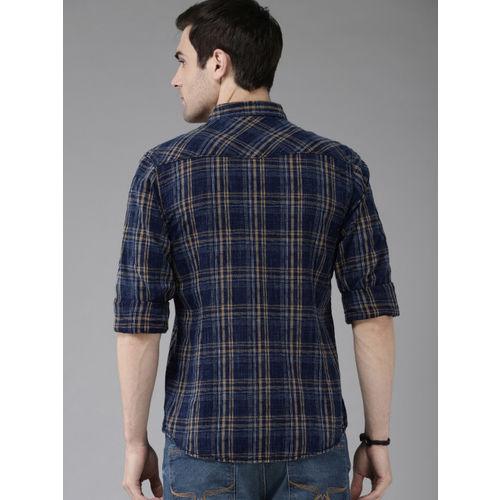 Roadster Men Blue & Khaki Regular Fit Checked Casual Shirt