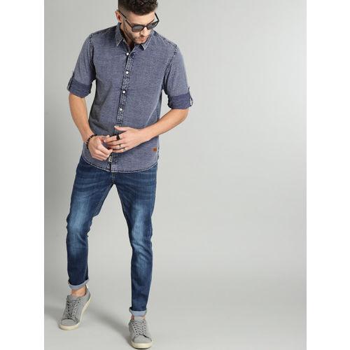 Roadster Men Blue Regular Fit Self Design Casual Shirt