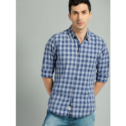 Roadster Men Blue Checked Casual Shirt