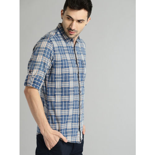 Roadster Men Blue & White Manhattan Washed Indigo Checked Casual Shirt