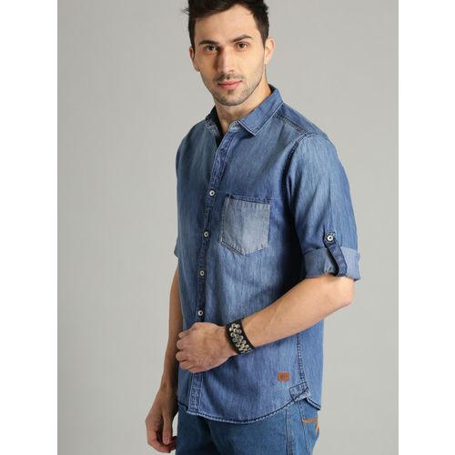 Roadster Men Blue Stylised Washed Casual Denim Shirt