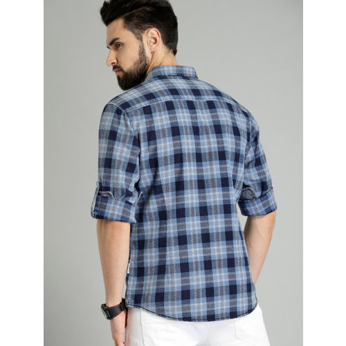 Roadster Men Blue & Grey Grindle Indigo Wash Checked Casual Shirt