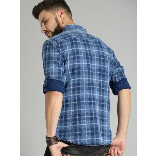 Roadster Men Blue Indigo Checked Casual Shirt