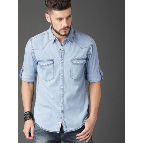Roadster Men Blue Regular Fit Faded Western Yoke Denim Shirt
