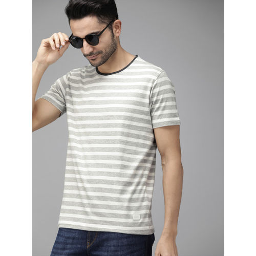 Roadster Men Grey & White Striped Round Neck T-shirt