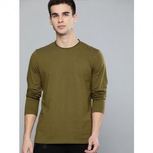 Harvard Men Olive Green Solid Round Neck T-shirt