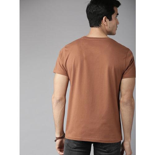 Roadster Men Brown Solid Round Neck T-shirt