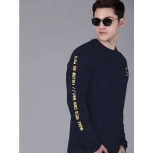 WROGN Men Navy Blue Slim Fit Printed Round Neck T-shirt