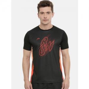 Proline Active Men Black Printed Pro-Dry Round Neck T-shirt