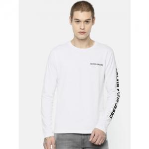 Calvin Klein Jeans Men White Solid Round Neck T-shirt