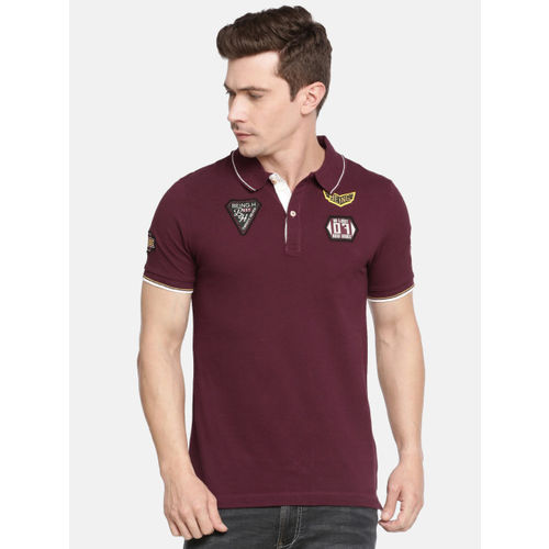 Being Human Men Maroon Solid Polo Collar T-shirt