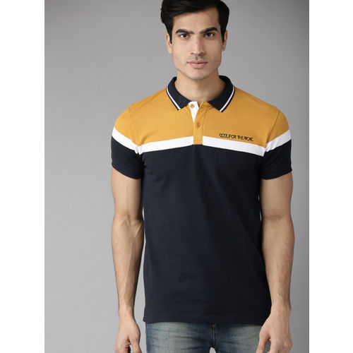 Roadster Men Navy Blue & Mustard Yellow Colourblocked Polo Collar T-shirt