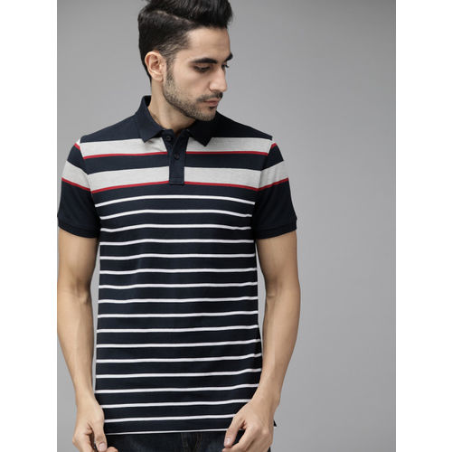Roadster Men Navy Blue & White Striped Polo Collar T-shirt
