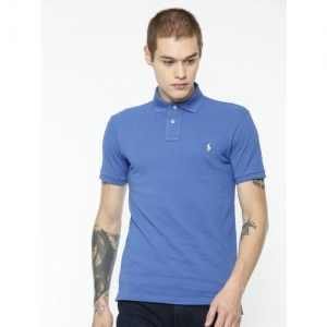 Polo Ralph Lauren Men Blue Solid Polo Collar T-shirt