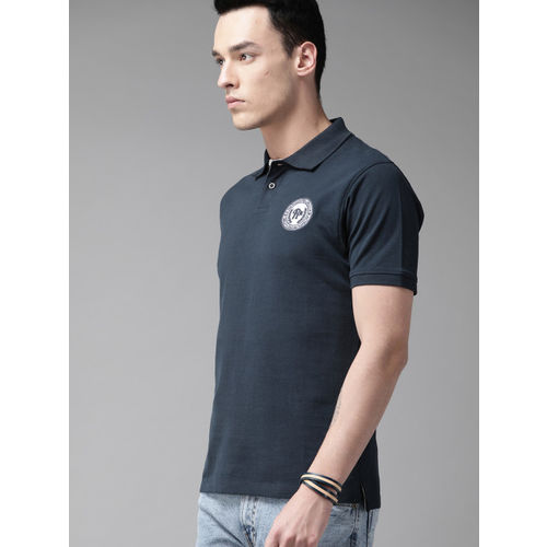 Roadster Men Navy Blue Solid Polo Collar T-shirt