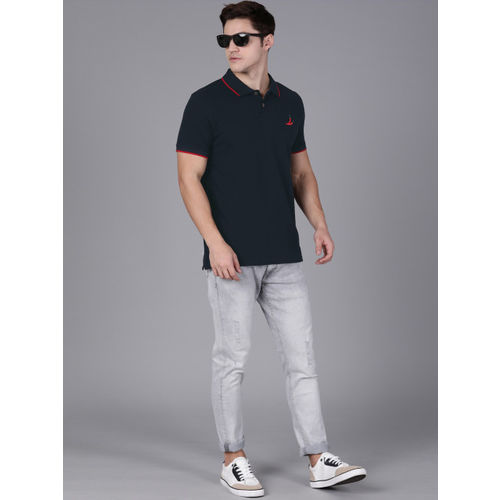 WROGN Men Navy Blue Slim Fit Solid Polo Collar T-shirt