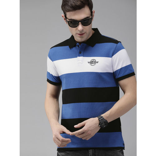 Roadster Men Blue & Black Striped Polo Collar T-shirt