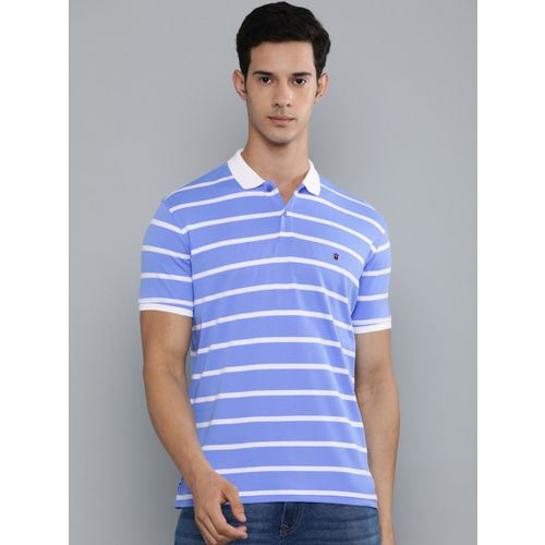 Louis Philippe Sport Men Blue & White Striped Slim Fit Polo Collar T-shirt