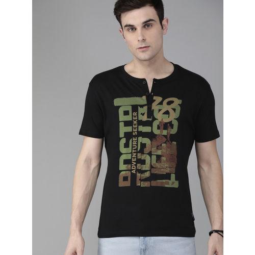 Roadster Men Black Printed Henley Neck T-shirt