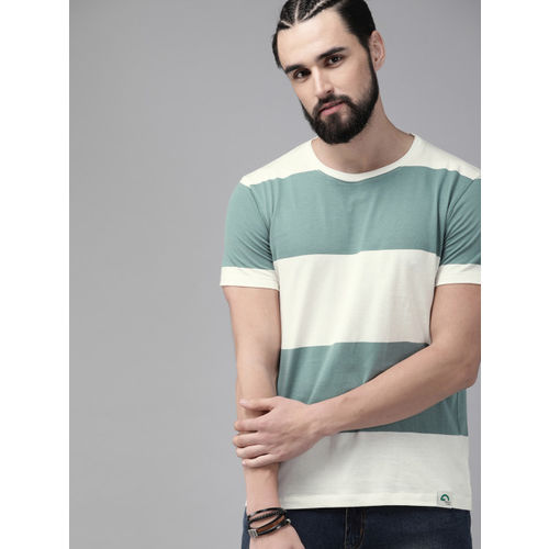 Roadster Men White & Sea Green Striped Round Neck T-shirt
