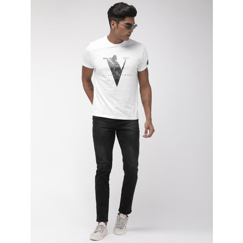 Indian Terrain White & Black Printed Round Neck Star Wars T-shirt