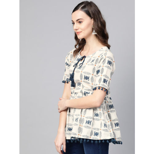 Azira Women Off-White & Navy Printed A-Line Top