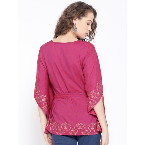 Rangriti Women Pink Self-Design Kaftan Top