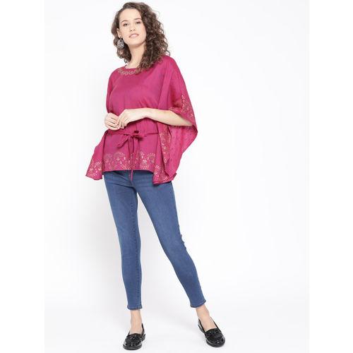 Rangriti Women Pink Self-Design Kaftan Top
