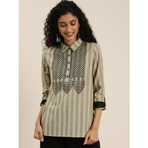 Taavi Women Beige & Black Bagru Hand Block Print Regular Top with Shirt Collar