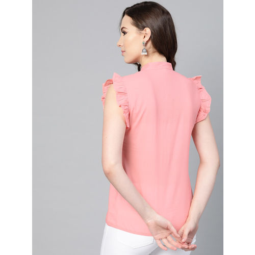Nayo Women Peach-Coloured Solid Top
