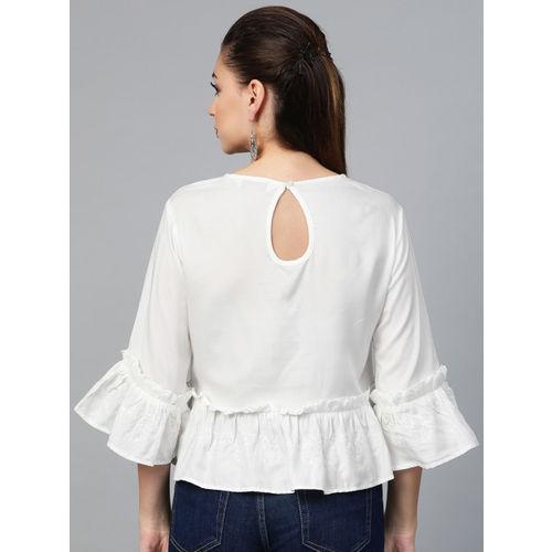Biba Women White Solid A-Line Top