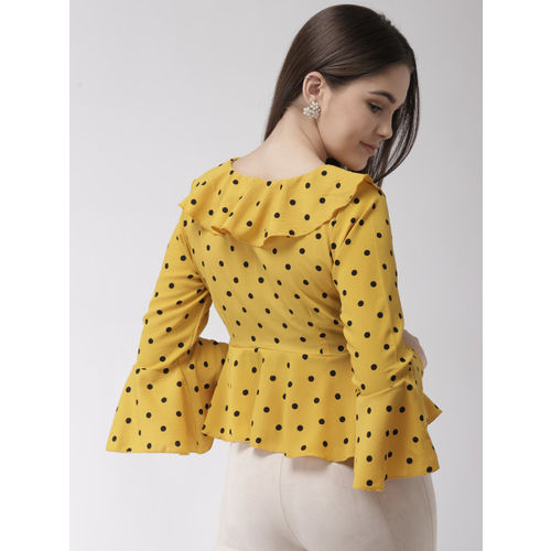 plusS Women Yellow & Black Printed Cropped A-Line Top