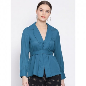 Oxolloxo Women Teal Blue Solid Cinched Waist Top