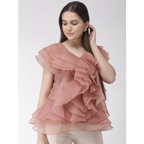plusS Women Dusty Pink Solid Ruffled A-Line Top