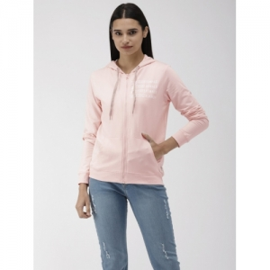 Flying Machine  Pink Cotton  Hooded Front-Open Sweatshirt