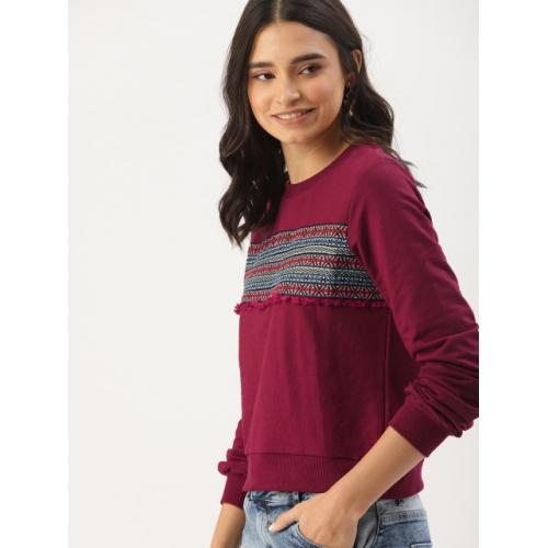 DressBerry Maroon Cotton Solid Pullover Sweatshirt