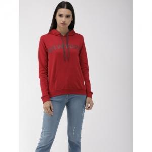Flying Machine  Red  Cotton Printed Hooded Sweatshirt