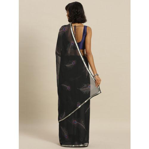 Satrani Black Printed Poly Chiffon Saree