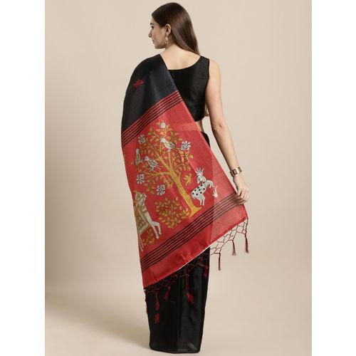 GoSriKi Black Art Silk Woven Design Khadi Saree
