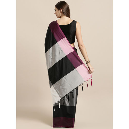 GoSriKi Black & Grey Art Silk Colourblocked Mysore Silk Saree