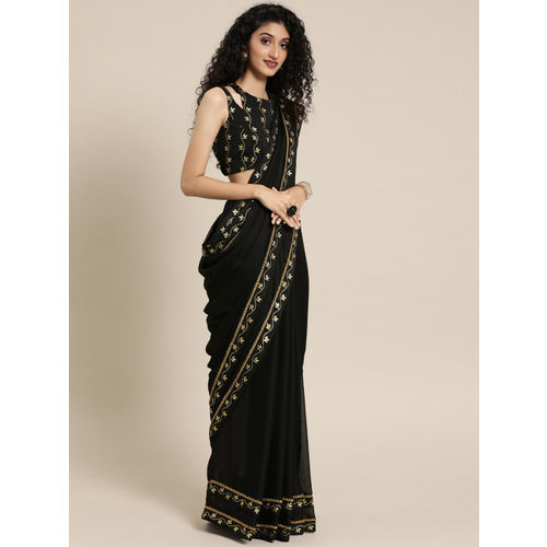 Inddus Black Solid Silk Blend Saree