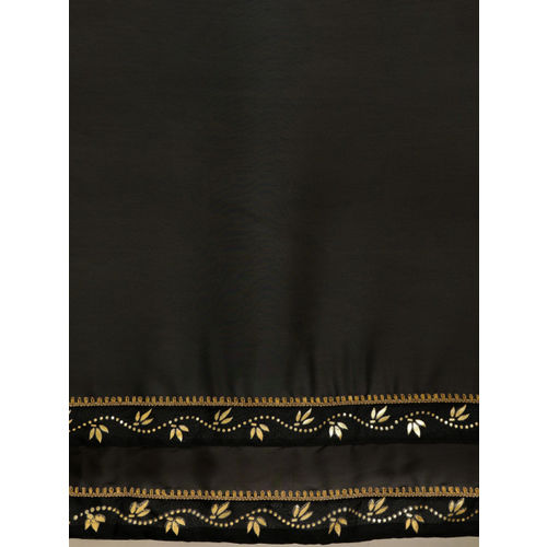 Inddus Black Solid Silk Blend Saree