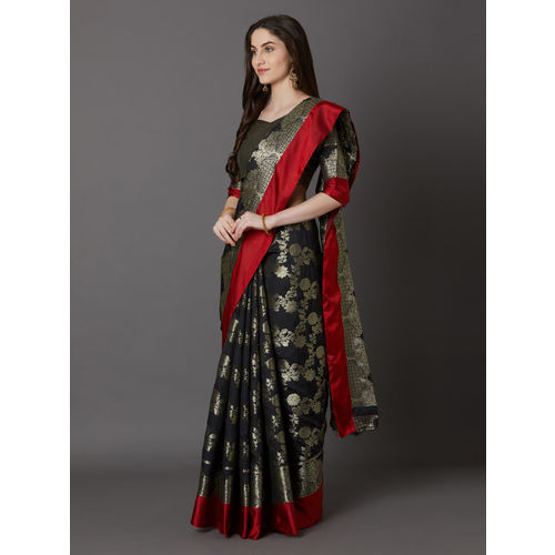 Mitera Black & Red Silk Blend Woven Design Banarasi Saree